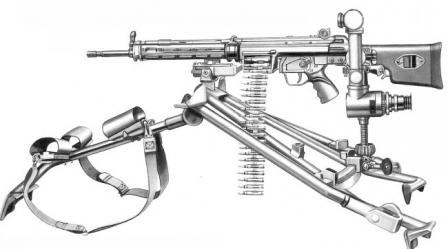 7,62x51 mm HK 21A1 machine gun, on tripod and with telescope sight.