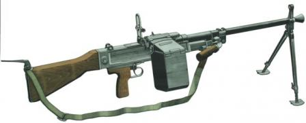 UK Vz.59 in light machine gun role, on bipod.
