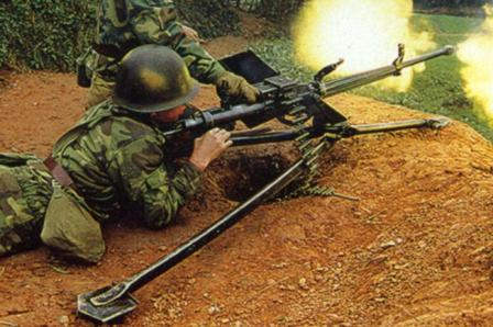 Chinese soldier fires the Type 85 heavy machine gun.