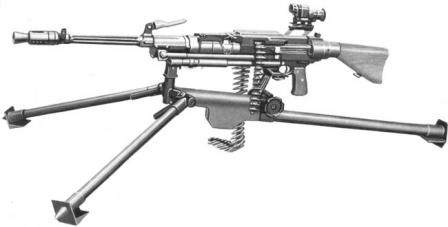 SIG MG50 (M/51) machine gun in 'medium' role, on tripod and with telescope sight.