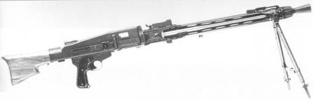 MG 51 machine gun in light role, on bipod.