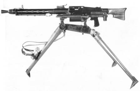 MG 51 machine gun in medium role, on tripod.