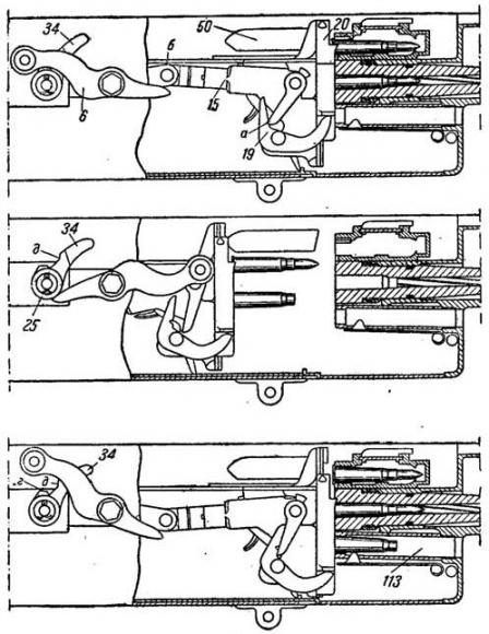 Diagram of the Maxim-typetoggle-lock action and feed.