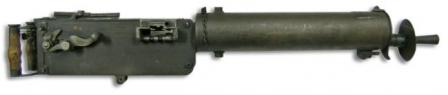 Maxim MG 08 medium machine gunless mount. The disk at the muzzle serves as a frontal protection towater jacket.