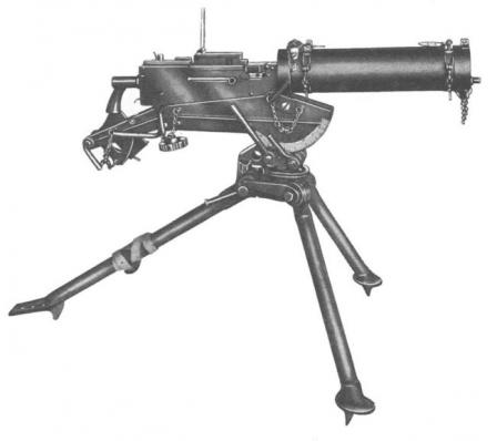 Colt MG38 machine gun,an commercial version of the M1917 of inter-war manufacture, on Colttripod.