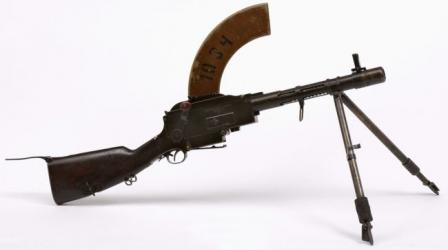 Short-barreled Madsen light machine gun, as used in 1930s and 1940s in Dutch West India colonies.