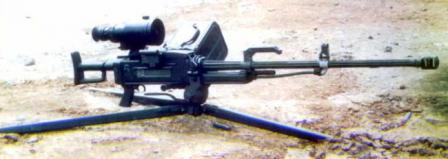 QJG-89 heavy machine gun with tripod set to low-profileposition; gun is fitted with IR / Night sight.