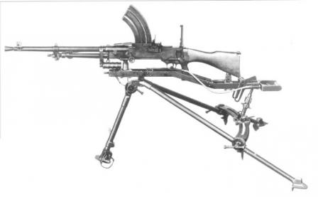 Vickers-Berthier Mk.3 light machine gun on tripod.