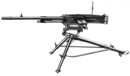 "Breda M1937 machine gun, left view with cartridge ""cassete"" / feed strip inserted."