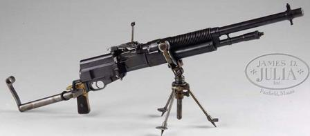 British-made Hotchkiss Portable machine gun, Mark I, caliber .303, in 'cavaly / infantry' configuration, with removable steel buttstock and a light tripod.