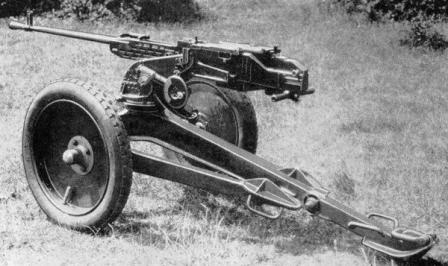 ZB-60 heavy machine gun on universal AA / ground support role tripod, which featured detachable wheels and folding tripod legs.