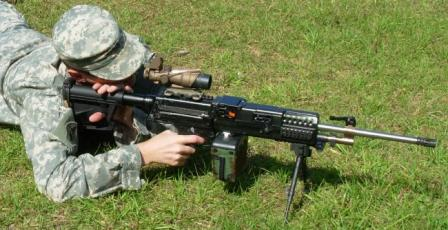 LSAT machine gun prototype being test-fired.