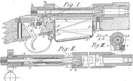 Drawing of the Mannlicher 1895 straight-pull bolt system; note the curved ribs and cuts marked with the dotted lines, which rotate the bolt head on bolt open/close action.