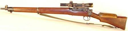 SMLE No.4 Mk.1(T) - sniper version with scope, mount and cheek rest on buttstock (shown with magazine removed).