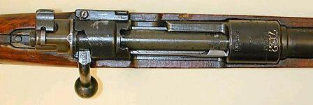 Top view on the K98k action. clearly seen are safety switch, extractor and stripper clip guides (