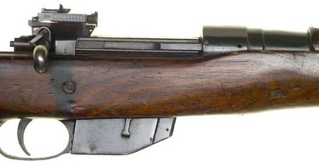 Close-up on the receiver and magazine of the Ross Mark III rifle.