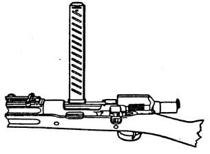 Partial drawing of the M1903 Mark 1 with Pedersen device installed. Note the long magazine protruding from the rifle up and to the right, and enlarged bolt section of the Pedersen device.