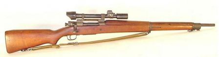 M1903A4 rifle - sniper version of the M1903A3 with C-stock and iron sights replaced by telescope.