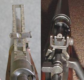 Difference in rear sights design: left is M1903 tangent sight in raised (long range) position, right is the M1903A3 diopter sight.