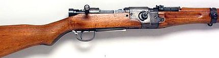 7.7mm Arisaka Type 02 paratroop takedown rifle. Note the steel-reinforced joint area ahead of the receiver.