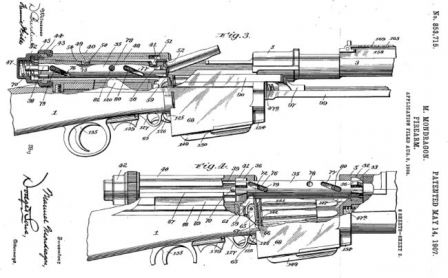 Diagram from original patent, issued to Gen. Manuel Mondragon for his self-loading rifle design.