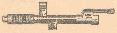 SVT-40, drawing of the muzzle attachment with the gas chamber and regulator, front sight assembly and muzzle brake.
