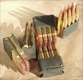 .30-06 caliber ammunition in the 8-roun M1 clips.