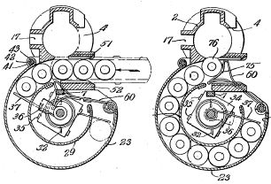 Schematic drawing of the M1941 rotary magazine, from Johnson's patent.