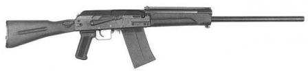 Saiga 12S shotgun withlong barrel and side-folding butt.