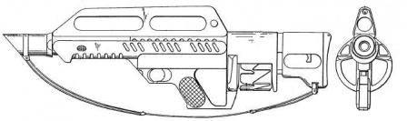 side and front views drawing from the original patent (1984 -1987). Note that the appearance of the original design differs from the latest Jackhammer Mk3A1 shown above.