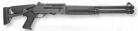 Benelli M4, with closed buttstock.