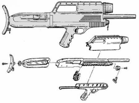 High Standard HS-10A shotgun - a drawing from the original High Standard patent(filed in 1968 and issued in 1970).