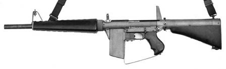 Atchisson assault shotgun (ca. 1972), blowback operated, with 5-round boxmagazine.