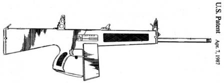 Drawing of AA-12 Atchisson assault shotgun (ca. 1985), gas operated, fromoriginal patent.