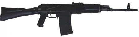 Saiga 410K-01 shotgun with10-round magazine, AK-74M-styled furniture and side-folding polymer butt.