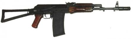 Saiga 410K-02 shotgunwith 10-round magazine, AKS-74-styled furniture andside-folding metallic butt.