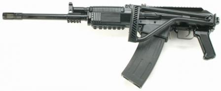 Vepr 12 tactical / practical shotgun, left side, with butt folded.