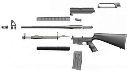 Akdal MKA 1919 semi-automatic shotgun, disassembled to main components.