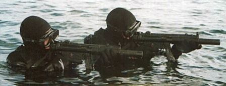 Estonian Special Forces personnel with HK MP5-SD silenced submachine guns.