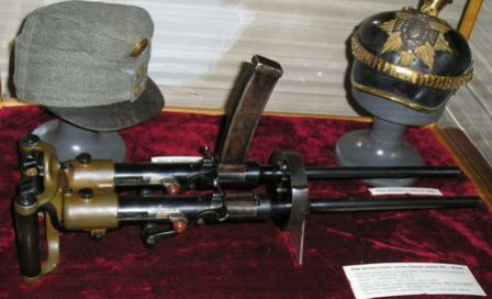 Villar-Perosa Submachine Gun in a museum exposition.