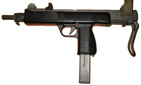 Steyr MPi 81 submachine gun; note added cocking handle that replaced sliding front sling swivel of MPi 69.