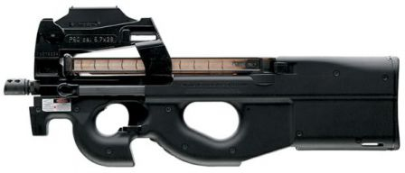 FN P90 personal defense weapon / submachine gun in basic configuration, left side.