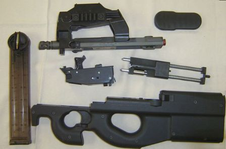 FN P90 partially disassembled.