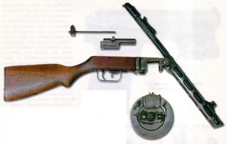 Shpagin PPSh-41 submachine gun partially disassembled.
