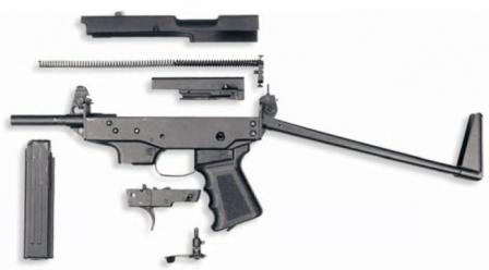 Klin submachine gun, partially disassembled.