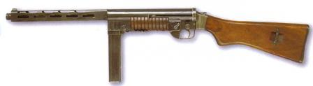 ZK-383H submachine gun of post-WW2 manufacture, with bottom-feed magazine that can be folded forward for carrying.
