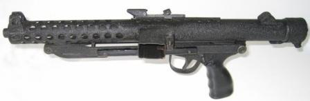 CETME C2 submachine gun. Buttsock is folded, magazine removed.