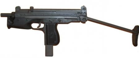 PM-98 submachine gun, buttstock retracted.
