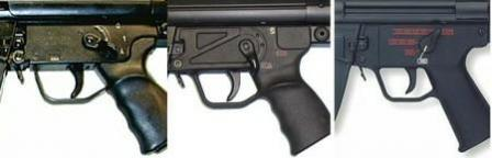 Visual difference between trigger units: left -earliest type stamped steel with plastic grip (converted from semi-auto only civilian gun HK 94, with American markings on selector); middle - early type all-plastic with S-E-F markings; right - most modern all-plastic design of