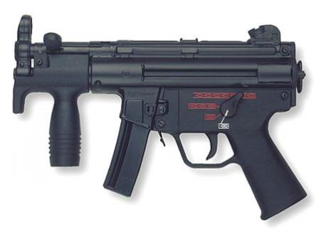 HK MP-5KA4 - the most modern variant with ambidextrous, 4-position selector trigger unit and short,15-rounds magazine.